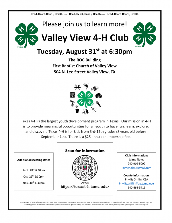 flyer for 4h meeting