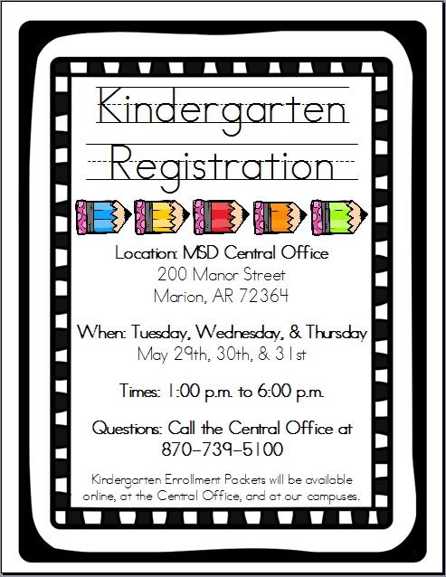 Kindergarten Registration May Flyer