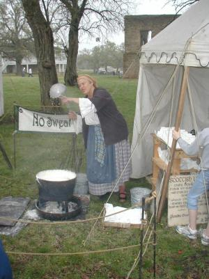 Lady making soap
