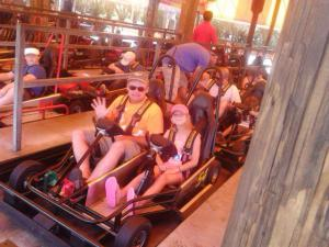 Far left rear Ethan, front Spencer, then Jerry, Kai Leigh. riding go Karts in FL!