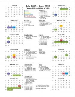 2019-2020 Year at a Glance District Calendar