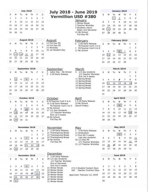 2018-19 Year at a Glance Calendar