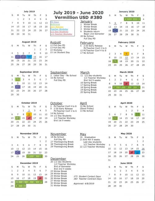 2019-2020 Year at A Glance Calendar