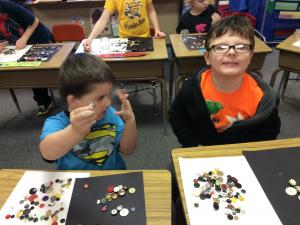 Mrs. Krug brought buttons to share!