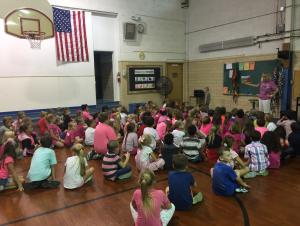 Students participating in pink day during spirit week