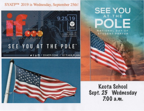 See You At The Pole 9-25-2019 at 7 AM.