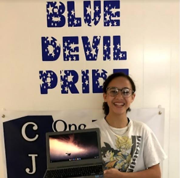 JH Student Receives Gift from Former Student