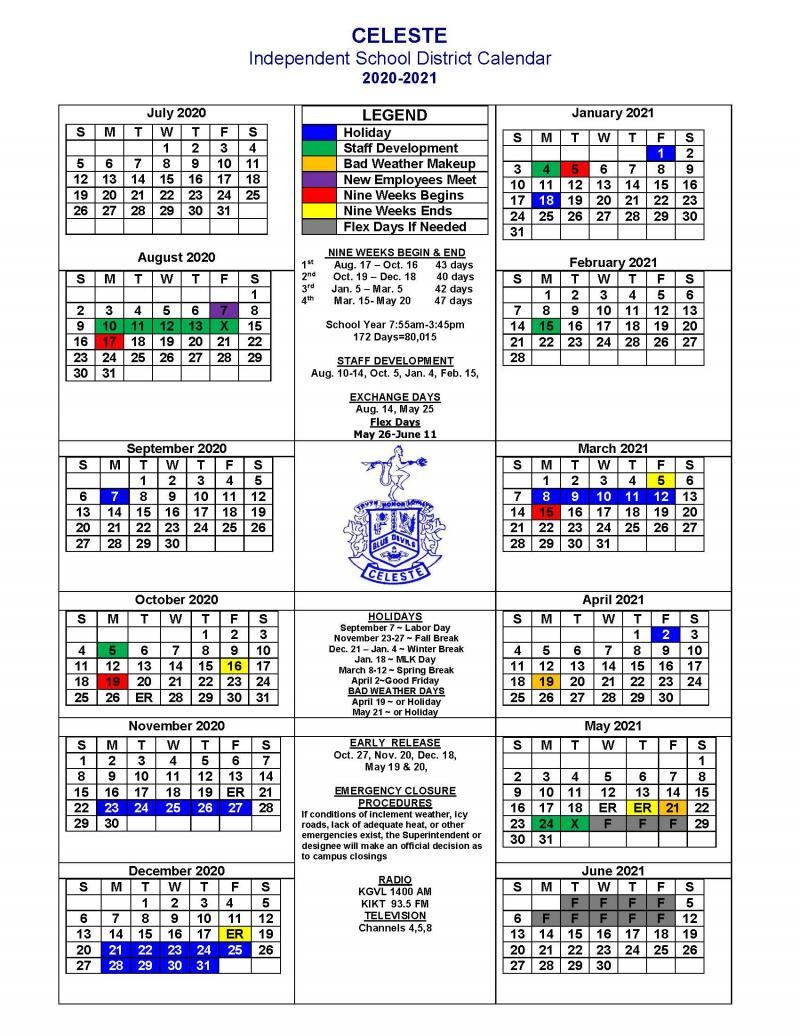 Celeste ISD 2020-2021 School Calendar