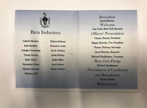 Beta Club Induction