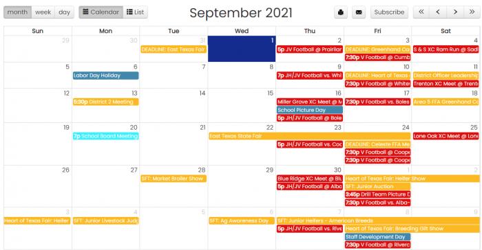 September 2021 District Events Calendar