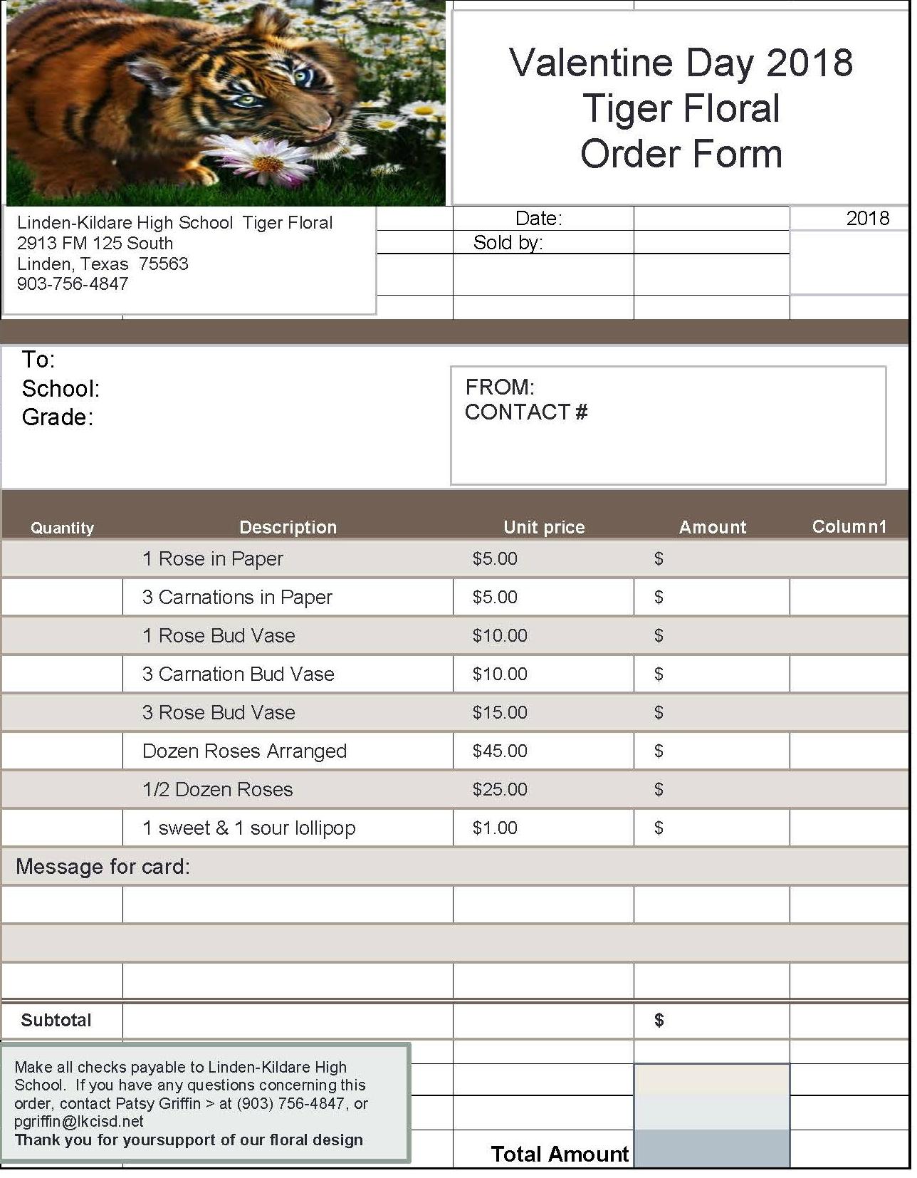 Floral Design Valentine Order Form