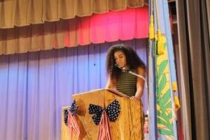 Historian speaking at Veterans Day Assembly