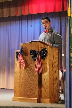 VP,  speaking at Veterans Day Assembly