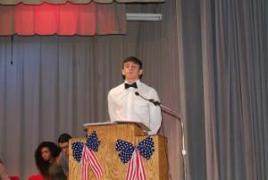 Treasurer speaking at Veterans Day Assembly