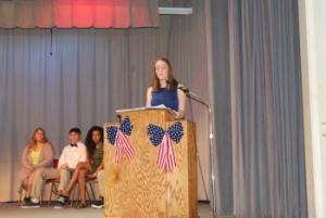 President speaking at Veterans Day Assembly
