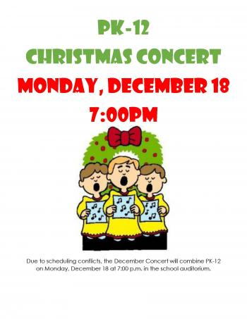 Christmas concert December 18