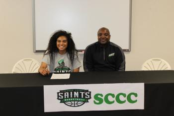 Destiny and Coach Carlo Walton from SCCC