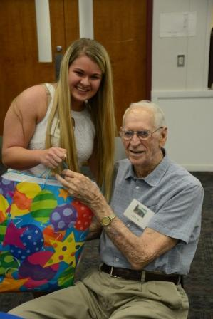 Macey Peterson, 2017 & Clyde Pigg, 1944 - oldest class at reunion