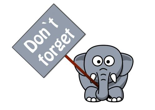 Reminder Elephant holds a sign that reminds you to not forget about what he is trying to tell you.