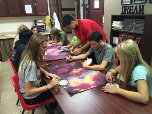 Students in FACS Basics labeling colors for the color unit.