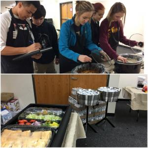 Culinary Basics students checking temperature safety zone of the soups they made for the hospitality room.