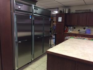New commercial refrigerator and freezer we purchased with grant money.