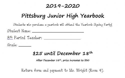 Yearbook Order Form $25