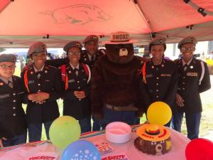JROTC with Smokey the Bear at the 2019 Buck Fever Festival