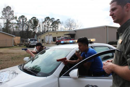 CJ Students Training with SEACBEC Patrol Car