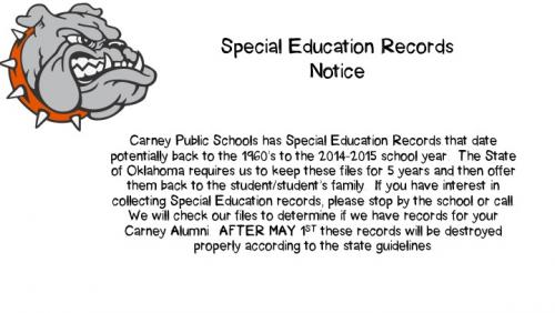 Special Education Records Notice