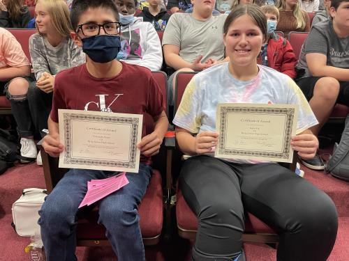 October 7th grade Students of the Month