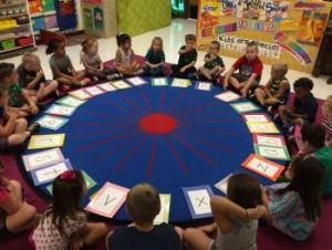 K students playing The Alphabet Game