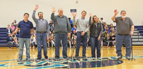 School Board recognized at center court during basketball halftime