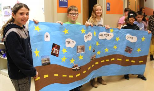 fourth graders present walk down memory lane to former ces principal gary wheeler