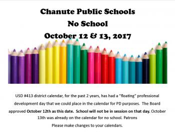 No School Oct 12 & 13th 2017
