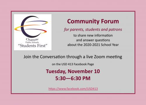 nov. 10 community forum