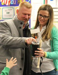 koester presents award to mendy burnett