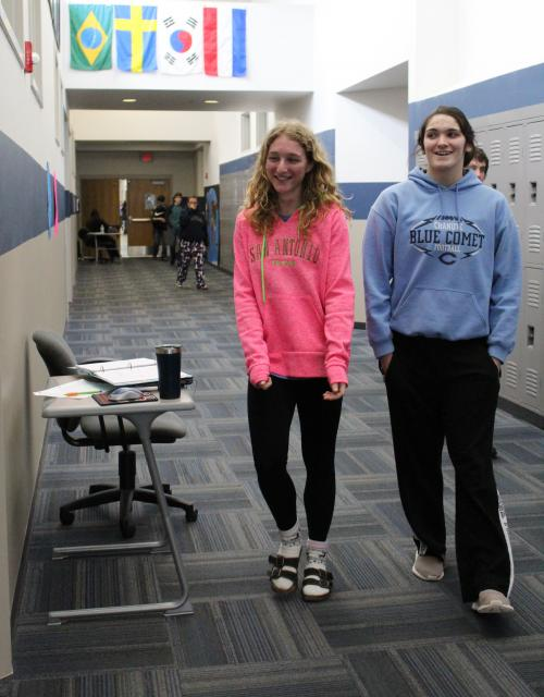 girls head to classroom for ACT test