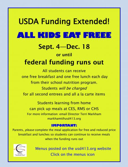 USDA extends free meals to all students