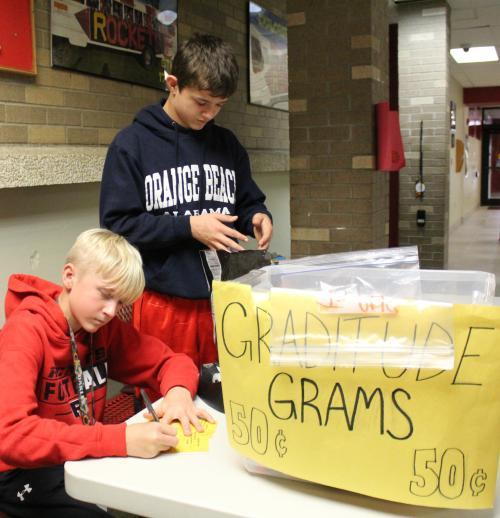 RMS student fills out gratitude gram