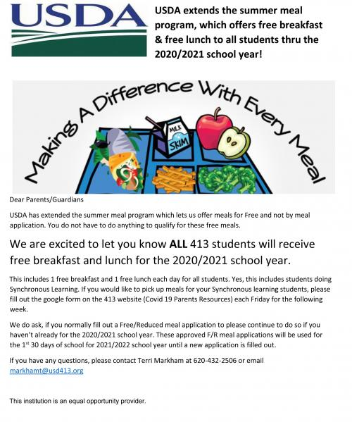 usda free meals for all students 2020-2021 updated flyer