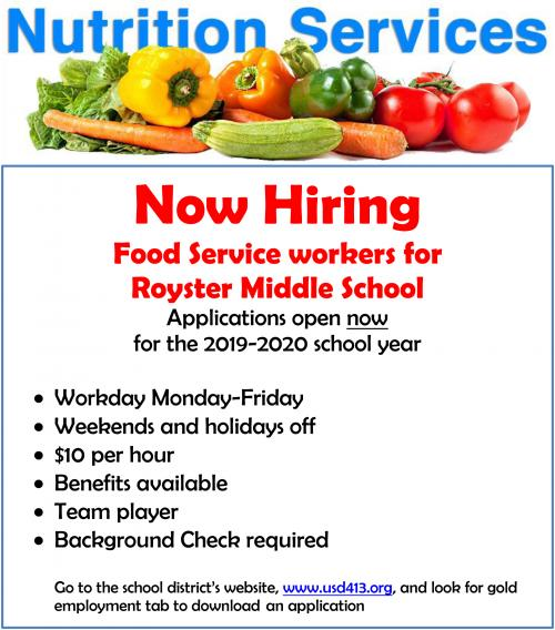 ad for food service workers