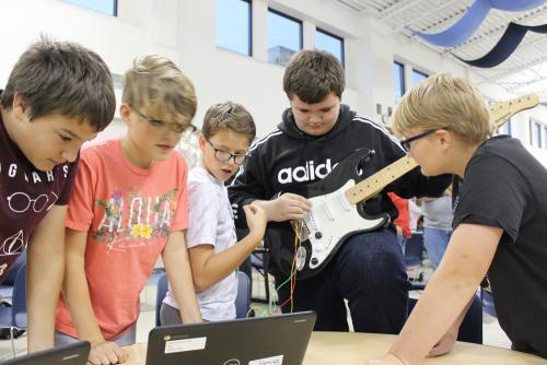 boys experiment with STEM project