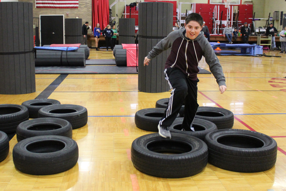 Running tires on obstacle course