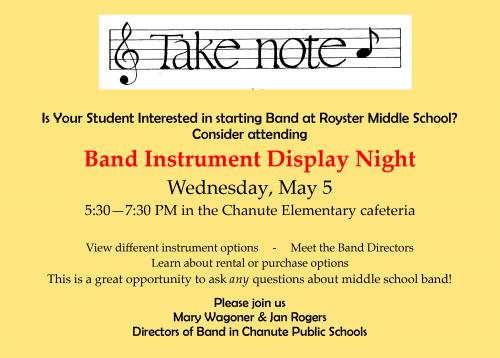 Band Instrument Night flyer