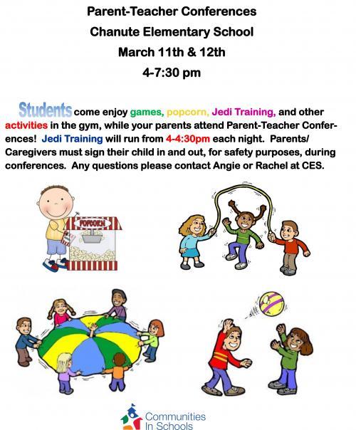 games for kids during parent teacher conferences flyer