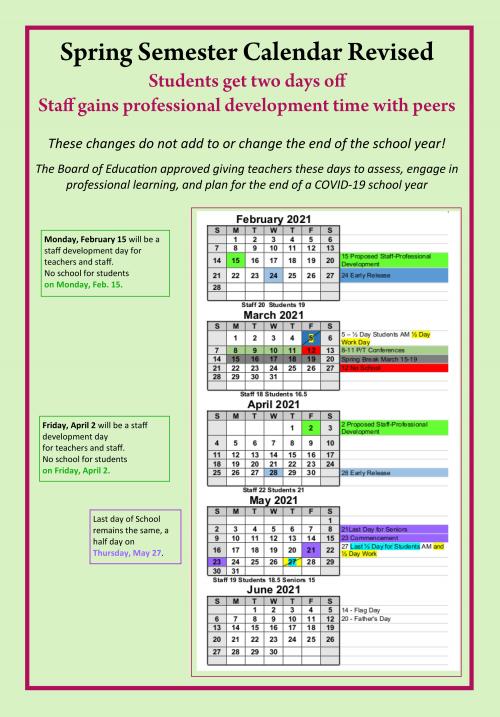 spring calendar revisions