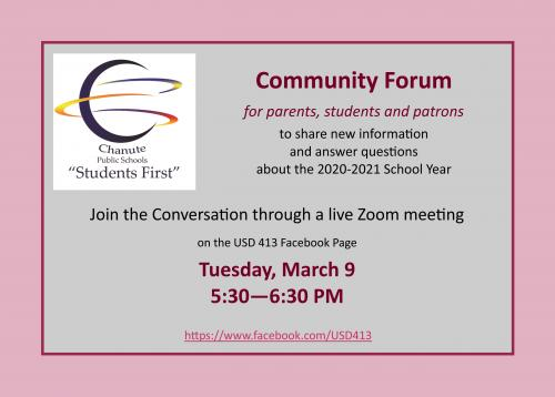 community forum for parents march 9