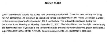 Notice to bid on Gator