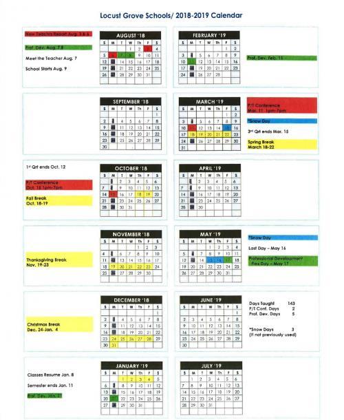 LG 2018-2019 Calendar